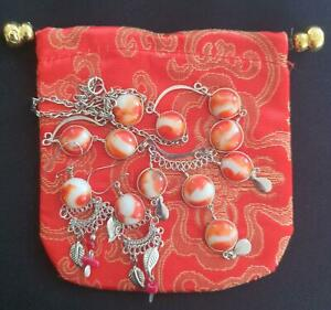 HANDMADE VINTAGE RED & WHITE GLASS MINI MARBLE NECKLACE & DROP EARRINGS + BAG