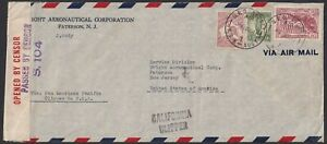 1941 Censor mail, Melbourne to US with double standard rate 8/- franking