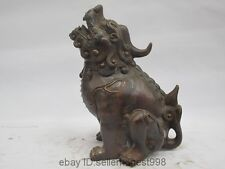 Chinese Folk Bronze Copper Dragon Kylin Kirin PiXiu Avoid Evil Beast Statue