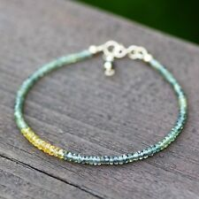 Natural Green Yellow Purple Sapphire Bracelet Solid 14K Gold 5th 7th Anniversary