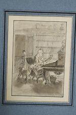 Petit dessin crayon XIX l'écrivain fabuliste FLORIAN à son bureau avec son chien