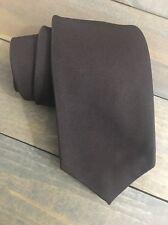 Wembley Solid Brown Short Skinny Polyester Mens Neck Tie