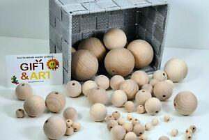 Natural Wooden Balls Beads HOLE HALF WAY THROUGH 10,12,16,20,25,30,35,40,50 mm