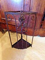 Ancien porte-parapluie/porte-canne d'angle en fer forgé Art Nouveau-motif floral