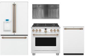 GE Cafe Matte White Kitchen IN STOCK Range, Refrigerator & Dishwasher