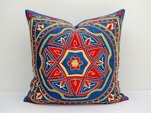 Blue Medallion Suzani pillow cover Silk on Silk hand work Best Embroidery Suzani