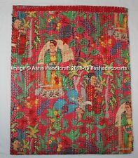 100% Cotton Kantha Quilt Cotton Throw Queen Size Blanket Bedspread Indian Gudari