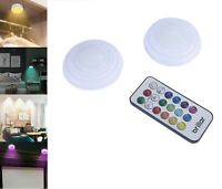 2pk Remote Controlled Color Changing Puck Light Cordless Wireless Home Cabinet