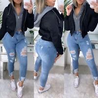 ❤️Womens Hoodie Bomber Jacket Ladies Winter Zip Up Biker Coat Short Tops Outwear