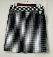 NEW W by Worth Women's Size 10 Black White Geometric Dot Skirt with Pockets