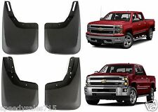Molded 2014-2017 Chevy Silverado No Drill Mud Flaps Front + Rear New Free Ship