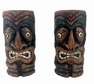 Carved Resin Tiki Hawaiian Oil Lamp Candle Holders Man Cave Beach House Decor
