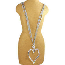 Large silver heart pendant grey leather suede long necklace costume jewellery