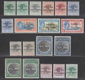 Bahamas 1942 KGVI Columbus Overprint Set Mint SG162-175a cat £80+