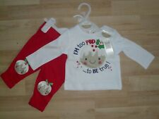 BNWT M & Co Baby Boys/Girls My First Christmas Top & Trousers ~ Age 0-3 Months