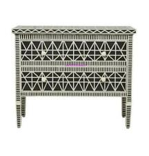 New Bone Inlay Two Drawer Geometric Design Black Chest Cabinet For Home Decor