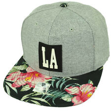 LA Los Angeles California Floral Pattern Flower Snapback Hat Cap City USA Gray