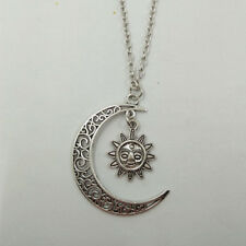 Ancient silver moon and sun pendant necklace jewelry handmade necklace