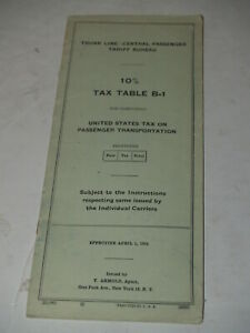 Trunk Line Central Passenger Tarriff Bureau 1954 10% Tax Table #B1-Railroad