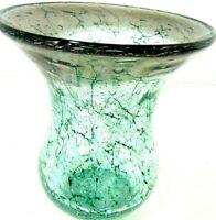 """CRACKLE GLASS VASE W VA 5-1/2"""" GLASSWARE VTG TABLE ART DECO MID CENTURY MODERN"""