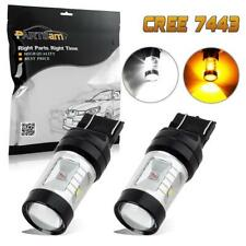 2Pcs 7443 Switchback 3-Amber/3-White Cree Chip Turn Signal Light Projector Led