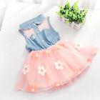 Chic One-Piece Baby Girl Kid Floral Princess Denim Tulle Tutu Skirt Dress T80