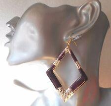 Lightweight Huge Rhombus Hoop Earrings - Shiny - 5 Colours - Pierced or Clip-on