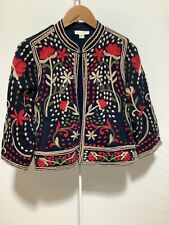 Womens Monsoon Size 10 Navy Jacket with Colourful Embroidered Pattern Detail
