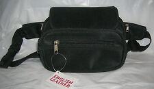 English Leather Black Waist Pack Card Holder Bag Microfiber Zip Closure