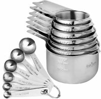13 Piece Measuring Cups and Measuring Spoons Set, Stainless Steel 7 Measuring Cu