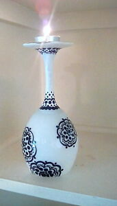 Hand paint candel holder wine glass set of 2 black and white