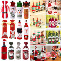 Christmas Santa Claus Wine Bottle Cover Cute Gift Bag Table Home Party Decor