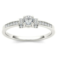 Natural 10k White Gold 0.24 Ct Diamond Classic Engagement Ring