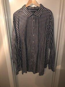 Perry Ellis 3X Blue/White/Black Checkered Long Sleeve Dress Shirt