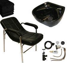 Black Ceramic Shampoo Bowl Sink Comfort Curve Chair Barber Spa Salon Equipment