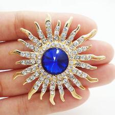 Rhinestone Crystal Gold-plated Brooch Pin Art Style Charming Sun Flower Blue