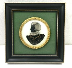 Hand Painted Reverse on Glass Silhouette Tudor Gentleman by L&R Crossley Framed