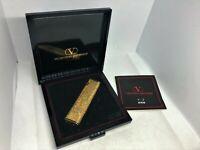 Auth VALENTINO GARAVANI Gold-Plated Logo Gas Lighter Gold w Case
