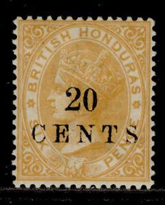 BRITISH HONDURAS QV SG29, 20c on 6d yellow, M MINT. Cat £30.
