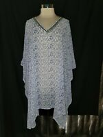 ELLOS Plus Sz 1X 2X Blouse Shirt Top Blue White Silver Beads Sheer 3/4th Sleeve