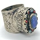 Huge Vintage Islamic Ring Ottoman Empire Style Middle East Blue Stone Near Old