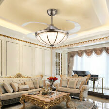 "42"" Retro Tiffany Retractable Ceiling Fan Light Remote 3-Color Chandelier Lamp"