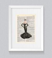 Abito da sera elegante abito da ballo lungo Vintage Dizionario Libro Stampa Wall Art