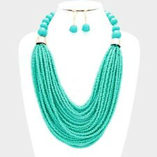 Multi Layers Turquoise Glass Seed Bead Lucite Bead Chunky Necklace Earring Set
