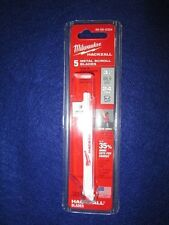 """MILWAUKEE 49-00-5324 3-1/2"""" HACKZALL BLADES PACK OF 5 METAL SCROLL NEW"""