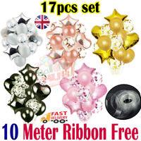 Birthday Wedding Balloons Latex Confetti Foil Kids Boy Girl Baby Party 17pcs/set