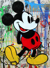 """Mr Brainwash Alec Monopoly Mickey Mouse Abstract Oil Painting on Canvas 24x30"""""""