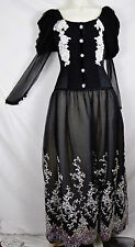 Alima France Vintage 80s Goth Wedding Ceremony Ball Gown Dress Stevie Couture