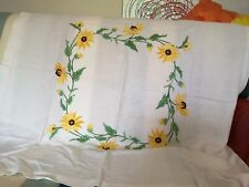"""Pretty vintage machine embroidered table cloth 39""""x39"""""""