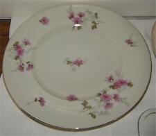 "Crown China Japan White and Pink Floral Dahlia Two 10 5/8"" Dinner Plates"
